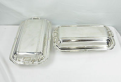Pair Of Silver Plated Entree Dishes