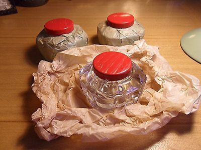 3 X Brand New 1950S  Inkwells Still Wrapped