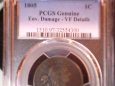 1805 Draped Bust cent, PCGS certified VF details, circulated business strike