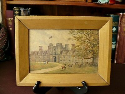 Vintage Wall Hanging/Picture - Castle With Red Deer - Shabby Chic