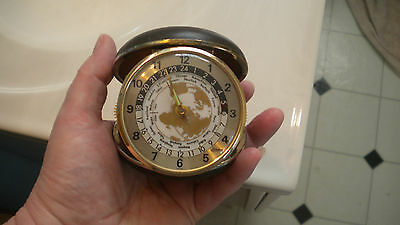 Vintage LINDEN Travel Alarm Clock Has TIMES For Different Towns & Countries RUNS