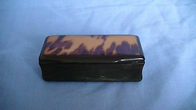 Old Victorian Antique Snuff Box With A Faux Tortoise Shell Veneer Top