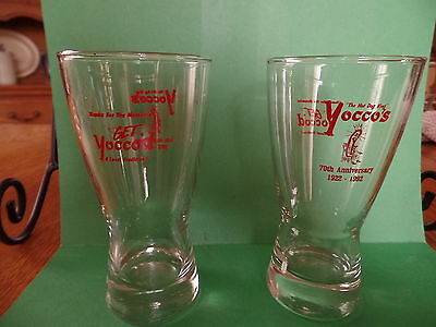 2 Yocco's Hot Dog glasses / 8 ounce glasses / clear / Allentown, PA