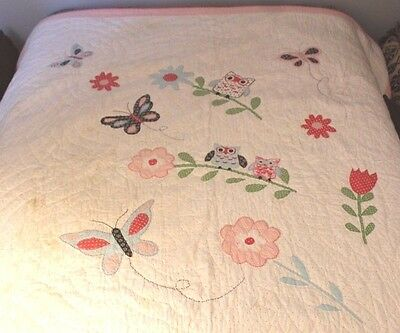 """Pottery Barn Kids Owl Comforter Quilt 86"""" x 86"""" Queen Colorful Cute Girl Blanket"""