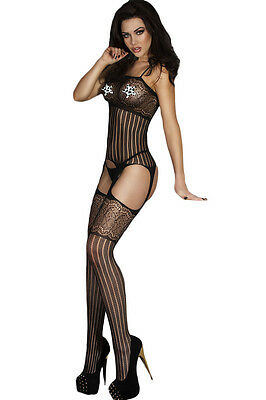 Foxy Suspender Style Lace Body Stockings S M L XL 8 10 12 14 Bodysuit Catsuit