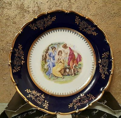 Vintage Porcelain PLATE Fine Bohemian China - 24 KT Gold Hand - Painted - 25 cm