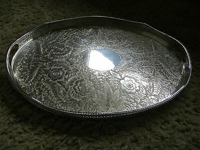 Vintage Silver Plated Chased Galleried Drinks Tray