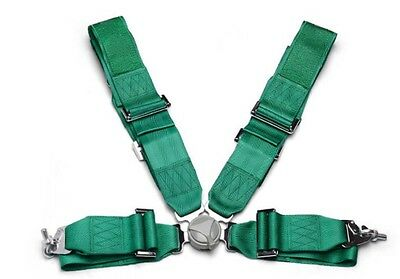 Green racing 4 point harness - With Logo
