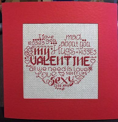 Completed Cross Stitch Extra Large Card - Valentine Heart