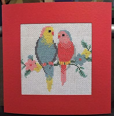 Completed Cross Stitch Extra Large Card - Love Birds