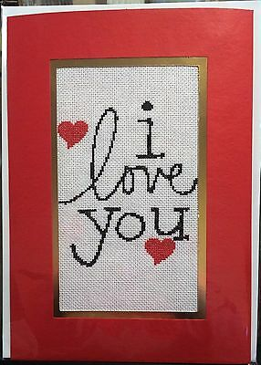 Completed Cross Stitch Extra Large Card - I Love You