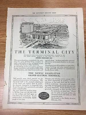 VERY RARE 1913 Grand Central Station Launch Advert 'The Terminal City' New York