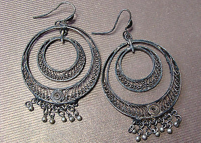 Rare Antique Persian Middle Eastern Sterling Silver Big Dangle Drop Earrings