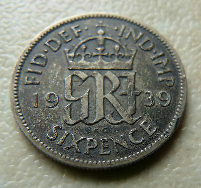 1939 - 6d  SIXPENCE COIN - GEORGE VI