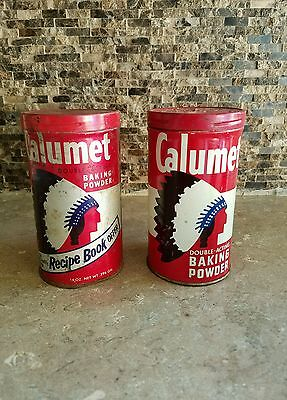 Vintage Calumet Double-Acting Baking Powder Tin Canisters