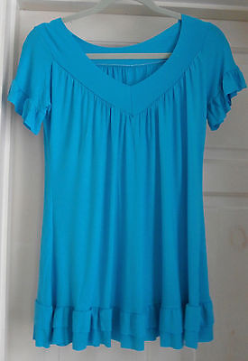 womens top turquoise size small new short sleeved
