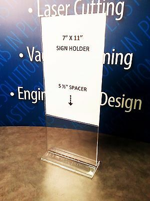 "LOT OF 12 Clear Plastic Display Stand Up Paper Sign Holder Acrylic 7"" W x 11"" H"
