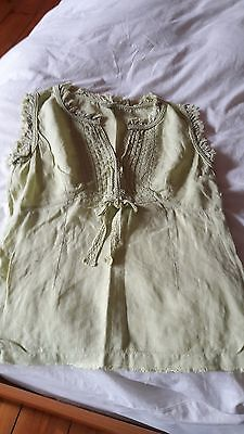 Next Women's Sleeveless Lime Green Linen Top Size 10