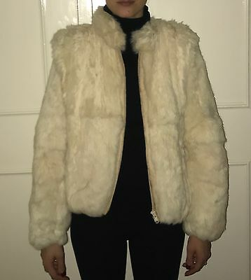 Women's GORGEOUS Vintage Cream Real Fur Coat UK L (Size 10-12)