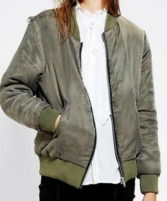 Women's Little White Lies Green Bomber Jacket Size M