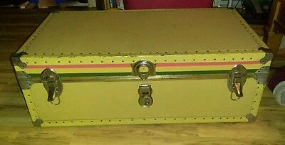 VINTAGE STEAMER TRAVEL TRUNK yellow & green big enough for magician's assistant