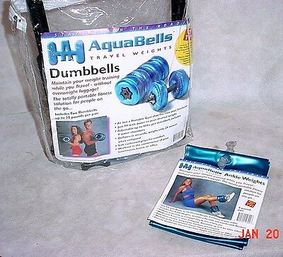 AquaBells 16# Dumbbells & 4# Ankle Wieghts Water Therapy Inflatable Travel Gym