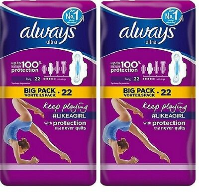 Always Ultra Sanitary Towels Long Plus with Wings 22 pads x 2 PACKS