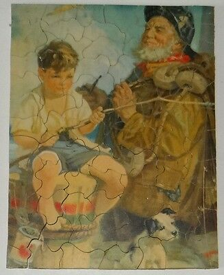 Antique Vtg Wood Jigsaw Puzzle Push Fit 1920s Old Man Sea Boy Fishing Complete