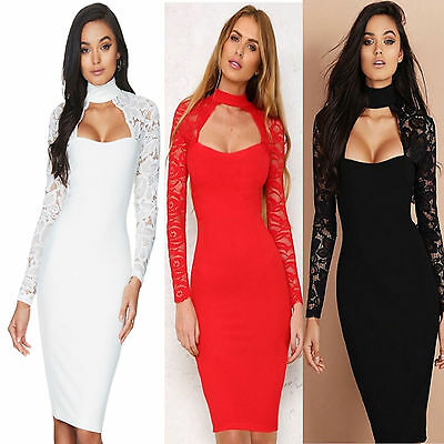 New Women's Ladies Lace Floral Chocker V Neck Bodycon Party Sexy Midi Dress UK