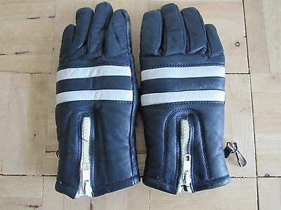 Vintage navy & white striped leather gloves, size S