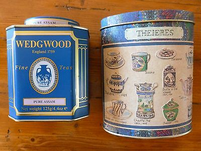 2 x Collectable Empty Tea Tins Wedgwood and French Theieres
