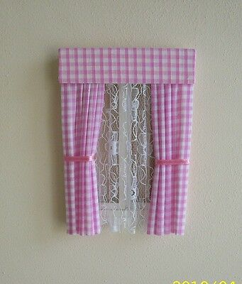 Dolls House Curtains Pink Gingham With Full Nets