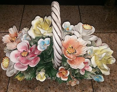 Vintage Hand Painted Capodimonte Italian Porcelain Flowers Handled Bowl