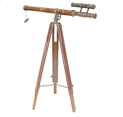 """Antiqued Replica Victorian Harbormaster Brass Finished 42"""" Telescope on Tripod"""