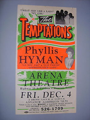 THE TEMPTATIONS & PHYLLIS HYMAN VINTAGE 1970's GLOBE POSTER CARDBOARD HOUSTON,TX