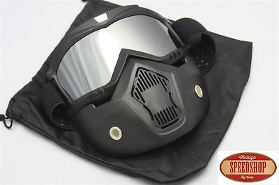 masque chrome mirroir casque jet moto vintage café racer custom lunette