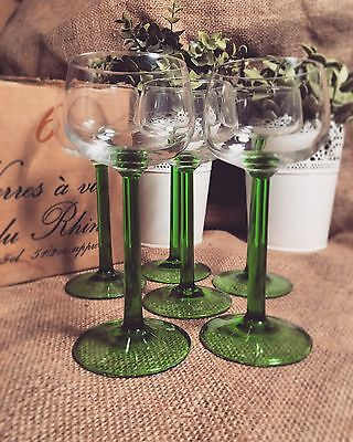 Vintage French Art Deco Green Glass Goblet Set Of Six