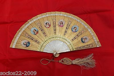 Antique Hand Fan Golden with Miniature ladies hand painted Hand Fan