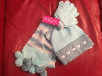 Girl's Blue Scarf, Glove and Hat set of winter accessories
