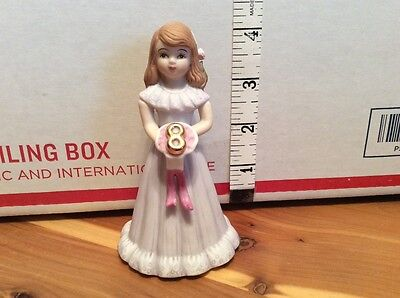 1982 Enesco Growing Up Birthday Girls - 8 Year Old Birthday Doll Figurine