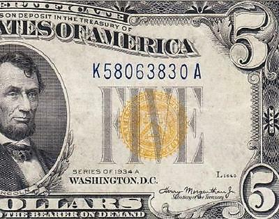Awesome HIGH GRADE 1934 A $5 NORTH AFRICA Silver Cert.! FREE SHIPPING K58063830A