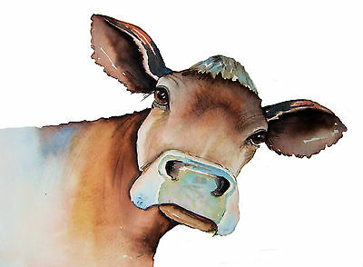 """*COW* LARGE 16 X 12"""" (A3) SIGNED PRINT From Original Watercolour Maria Moss"""