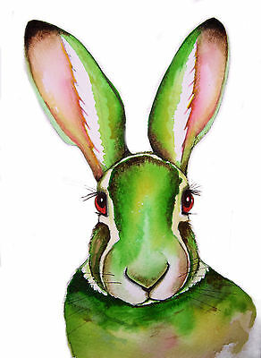 """""""GREEN HARE"""" LARGE A3 SIGNED PRINT From Original Watercolour By Maria Moss"""