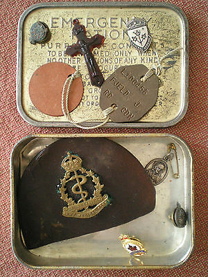 WW2 Service Effects to FJELD, ROYAL CANADIAN ARMY MEDICAL CORPS Dogtags & Badges