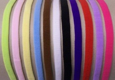 """12 Skinny 1/4"""" thin Baby Infant Stretchy Headband Lot Bow Clip Hair Accessories"""