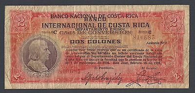 Costa Rica 2 Colones 1939 P196 Very Fine