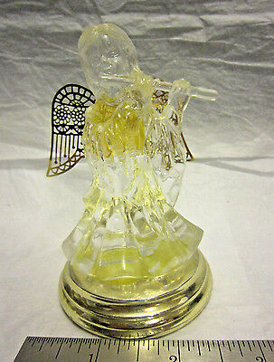 Glass Flute Playing Angel on Pedestal Filigree Gold Wings