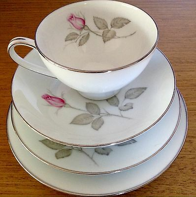 Vintage Zylstra Rose Handcrafted Tea Cup Trio + Plate