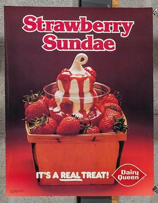 Vintage Dairy Queen Promotional Poster Strawberry Sundae 1980 dq2