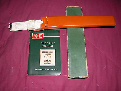 Vintage Keuffel And Esser Log Log Duplex 4080 Decitrig Slide Rule, Manual, Box,